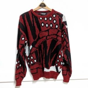 Vintage 1980s Red Abstract Print Sweater Large